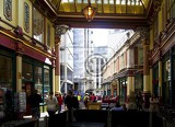 City. Passage, people, shops and restaurants. London - England.