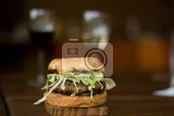 big hamburger with fresh vegetables