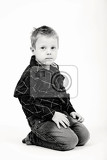 Fotografie studio portrait of young beautiful boy black and white
