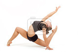 beauty contortionist practicing gymnastic yoga isolated on white background young professional gymnast woman