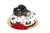 Fotografie birthday cake for forty anniversary with modern dslr photo camera isolated on white