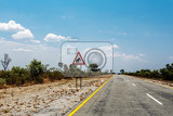 endless road with blue sky and sign elephants crossing in namibia caprivi game park with blue sky