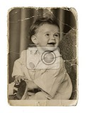 Fotografie very old authentic picture cute little girl on a white background