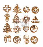 homemade christmas gingerbreads on white background