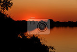 african sunset on zambezi river caprivi region namibia