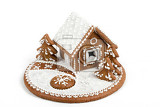 Fotografie holiday gingerbread house isolated on white christmas cookie