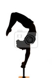 Photo one caucasian woman contortionist practicing gymnastic yoga in silhouette on white background
