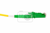 green fiber optic e2000 connector on white background