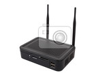 Fotografie android tv set top box receiver with wifi isolated on white