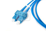 blue fiber optic duplex sc connector patchcord on white background