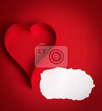 Fotografie valentines paper hearts on a red background  valentines day  day valentine postcard with space for text