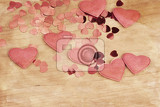 Fotografie valentines wooden and confetti hearts on a wooden background  valentines day  retro color tone