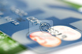 Photo close up stacking credit cards  selective focus by very shallow focus