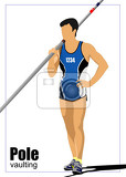 Fényképek athlete pole vaulting track and field vector illustration