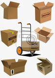 Fotografie carton boxes collection vector illustration