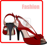 fashion woman red shoes poster vector illustration