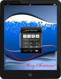 Fotografie locked tablet pc with christmas background vector illustration