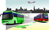 Fotografie city panorama with two buses and plane images coach vector illustration