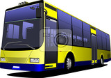 yellow city bus coach vector illustration