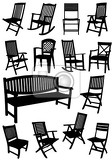 collection of garden chairs and benches silhouettes vector illustration