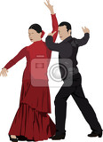 Fotografie beautiful young pair dancing flamenco isolated on white vector illustration