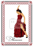 beautiful young woman dancing flamenco isolated on white vector illustration