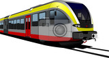 grayredyellow modern speed bullet train fast suburban subway metro commuter hovercraft vector illustration