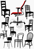 big collection of home and office chair silhouettes vector illustration