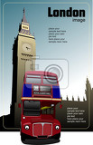 london double decker  red bus on big ben background vector illustration