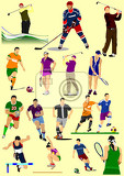Fotografie few kinds of sport games football ice hockey tennis soccer golf rugbyvector illustration