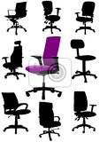 Fotografie big set illustrations of office chairs isolated on white background vectors