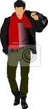 young man with bag vector illustration