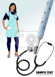 medical nurse stethoscope and thermometer vector illustration