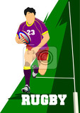 Fotografia rugby player silhouette vector illustration