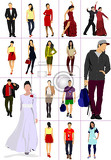 collection of man and women silhouettes over white background vector illustration