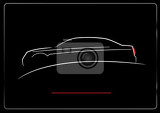 Fotografia white silhouette of car on black background vector illustration