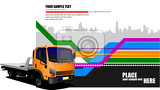 Fotografie abstract hitech background with orange lorry image vector illustration