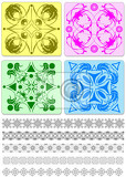 collection of ornamental rule lines and tiles vector illustration