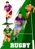 collection of rugby player silhouettes vector illustration