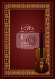 cover  for notes  with violin image in retro style vector colored illustration
