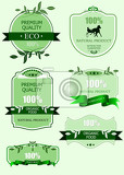 eco green labels with retro vintage design vector illustration