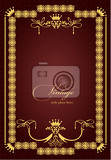Photo gold ornament on brown background can be used as invitation card or cover vector illustration