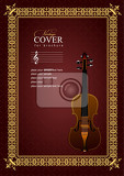 Fotografia gold ornament on brown background withviolin image can be used cover vector illustration