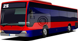 Fotografie red city bus coach vector illustration