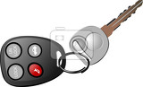 Fotografia car key with remote control isolated over white background