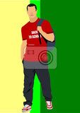 Photo young man with tshirt back to school vector illustration