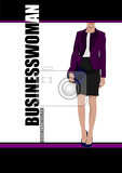 young businesswoman on abstract black and white background vector illustration