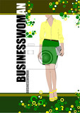 young woman on abstract greenyellow  background vector illustration