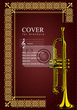 cover for brochure with trumpet images vintage style vector illustration