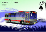 Fotografie bluered city bus coach vector illustration